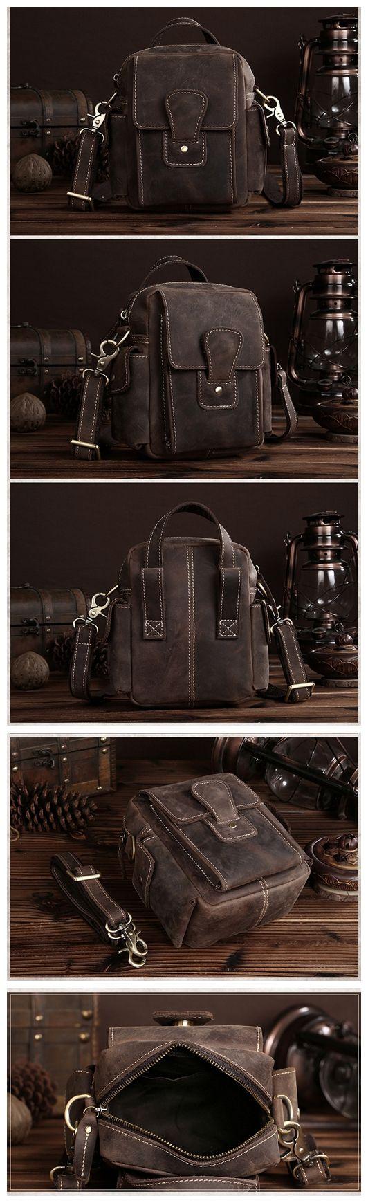 Top Grain Leather Travel Hiking Single Strap Shoulder Backpack Sling Bag