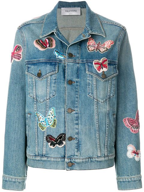 c81d95d7f96 Valentino Embroidered Butterfly Denim Jacket in 2019 | Jean jackets ...
