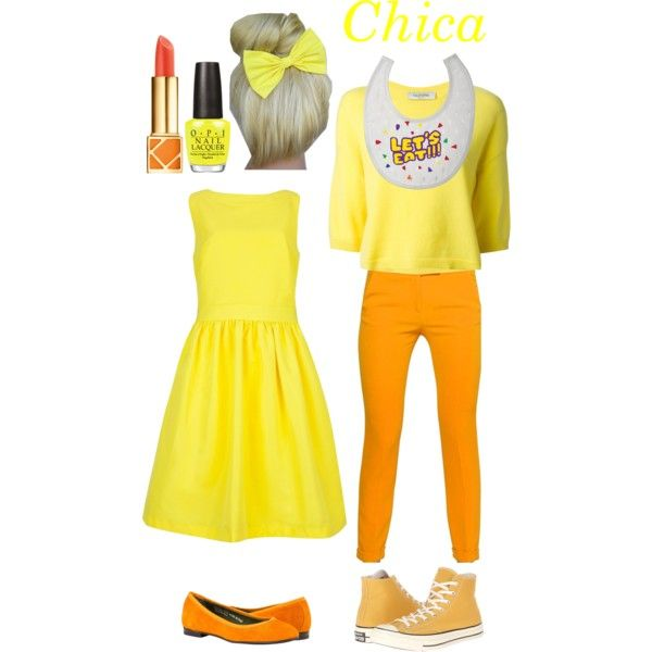FNAF- Chica by living-in-a-small-world on Polyvore featuring Belleza, Tory Burch, OPI, Ted Baker, Valentino, MSGM, Converse, fivenightsatfreddy and LIASW