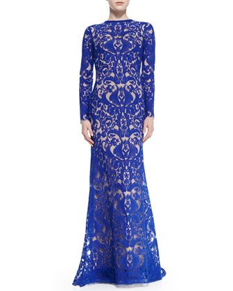 Long-Sleeve Lace Overlay Gown by Tadashi Shoji at Neiman Marcus.