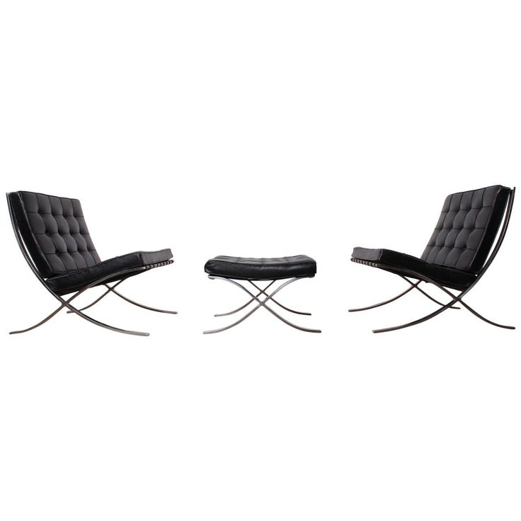 Pair of Barcelona Chairs and Ottoman by Mies van der Rohe for Knoll | From a unique collection of antique and modern lounge chairs at https://www.1stdibs.com/furniture/seating/lounge-chairs/