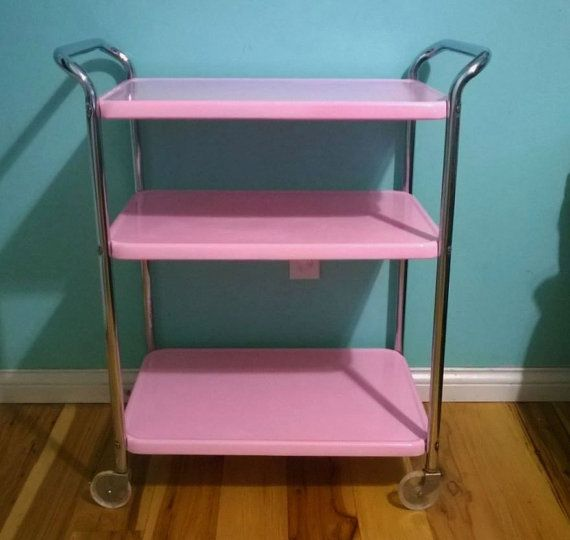 Vintage Pink Cosco Rolling Utility Cart 3 Tier by Lovespastel