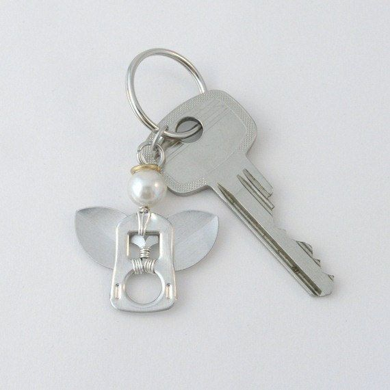 pop tab keychain  angel wire wrapped by tabsolute on Etsy, $7.00