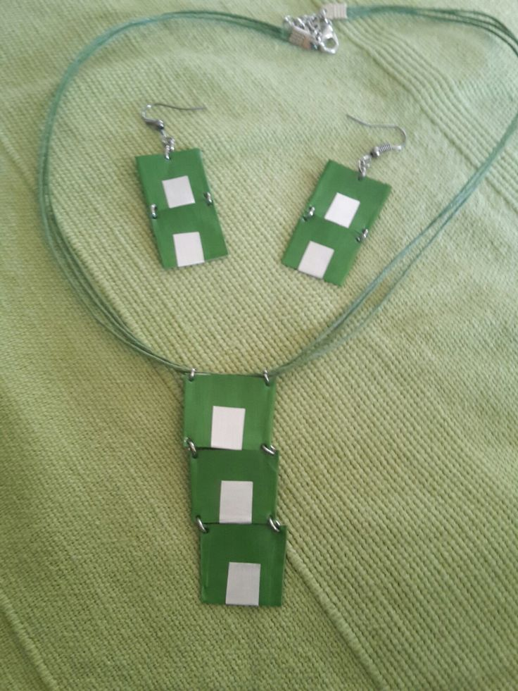 Green - Nespresso capsule necklace and earrings