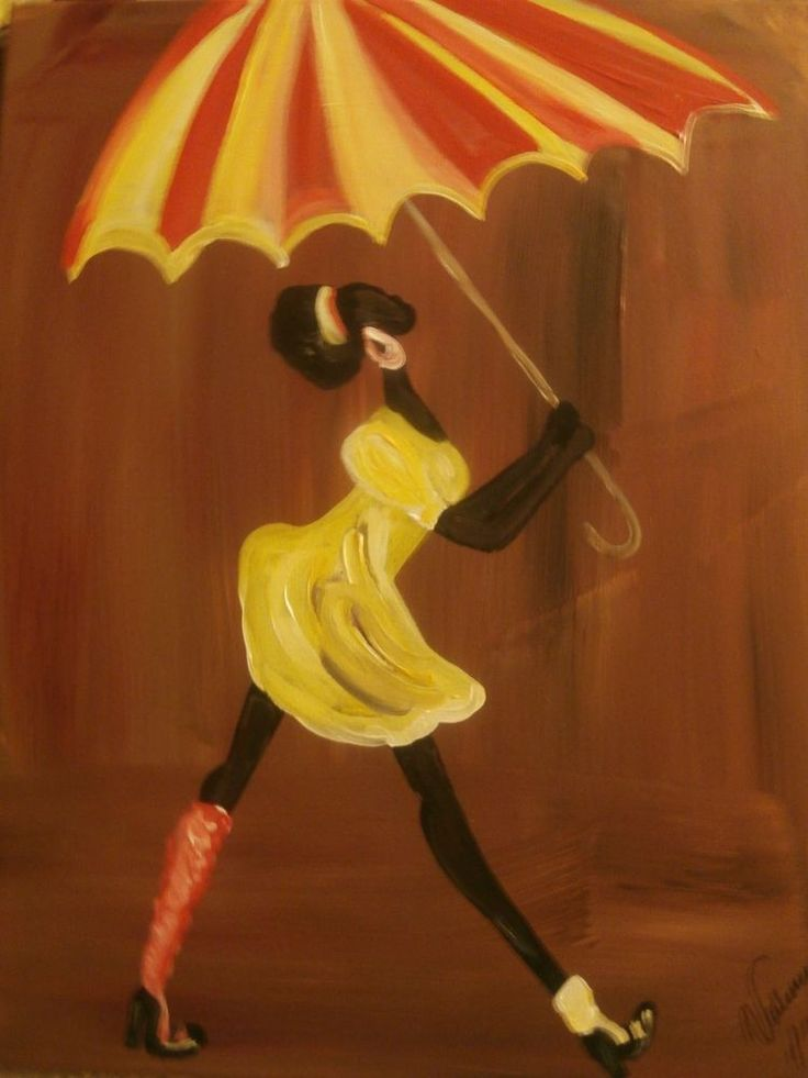 "Original African American black art painting signed 16"" x 20"""
