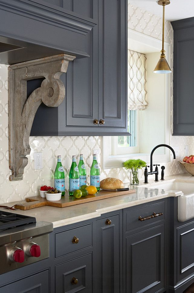 Kitchen Ideas. Kitchen Charcoal Cabinet Paint Color. Kitchen Antique Brass Hardware. Kitchen Arabesque Backsplash. Kitchen Crema Marfil Countertop. Kitchen Pendant Above Famrhouse Sink. Kitchen Hood Corbel. #Kitchen Designed by Sarah Nardi of Elsie Interior.