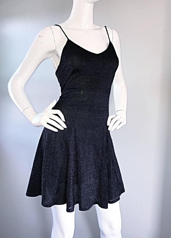 1990s Betsey Johnson Black Metallic Lurex Vintage 90s Mini Skater Dress Petite
