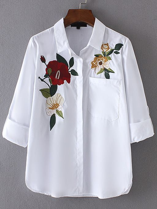 Shop Roll-Up Sleeve Embroidery Blouse With Pocket online. SheIn offers Roll-Up Sleeve Embroidery Blouse With Pocket & more to fit your fashionable needs.