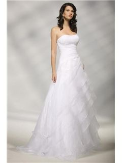 $ 154.99 Sumptuous A-line Strapless Sweeping Tiered Wedding Dress