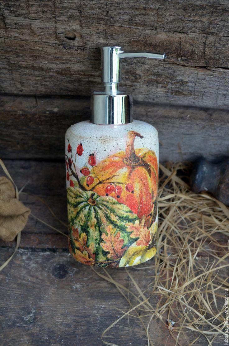 """Купить Дозатор для жидкого мыла """"Тыквы"""", в стиле кантри,для кухни - оранжевый, тыква, тыквы"""