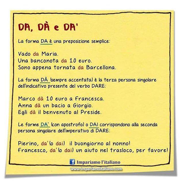 DA, DÀ e DA'  Seguite @ilearnitalian . #learningitalian #learnitalian…