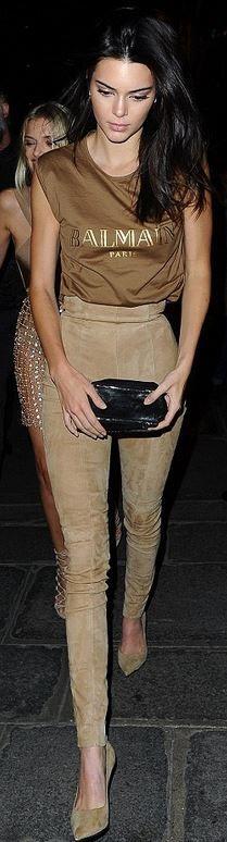 Kendall Jenner: Shirt and pants Balmain  Shoes – Saint Laurent  Purse – Givenchy