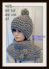 KNITTING PATTERN, Hat and cowl set. Great gift idea, works up so quickly using large needles and 2 strands of worsted weight yarn.