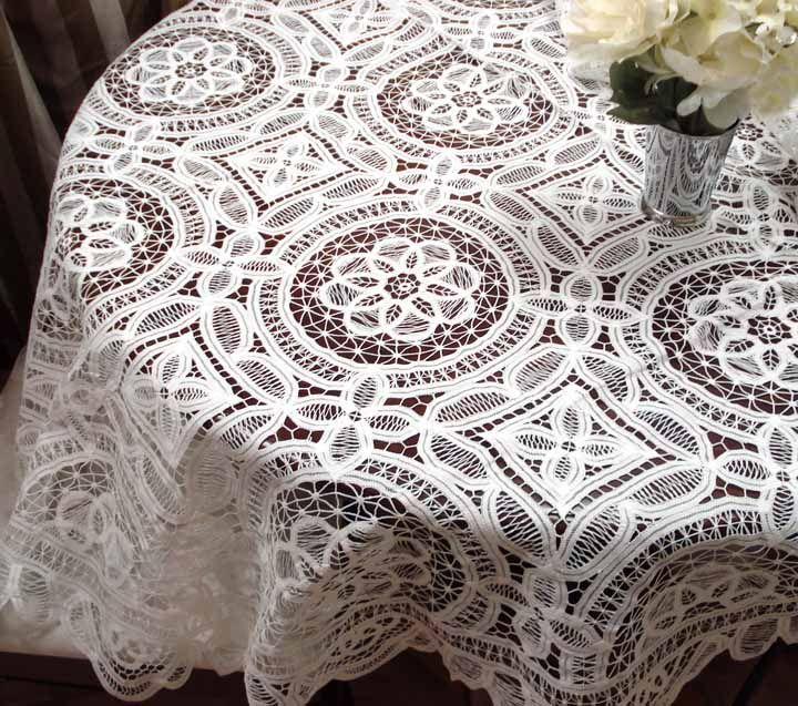 """Battenburg Lace Table Cloths   Evaline Full Battenburg Lace Tablecloth -72"""" Round"""