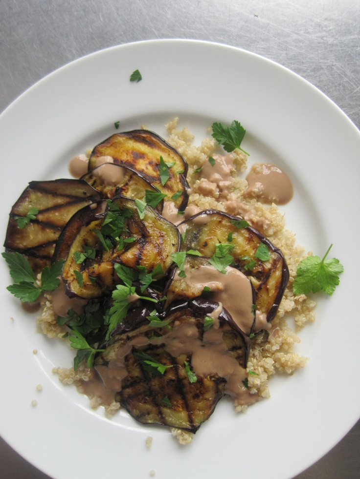 Creamy Grilled Eggplant and Quinoa: Eggplant and grains like quinoa can help lower cholesterol levels, Wholeliving.com: Health Food, Lunches Recipes, Eggplants Quinoa, Lunch Recipes, Food D, Healthy Eating, Cooking, Food Health, Grilled Eggplants
