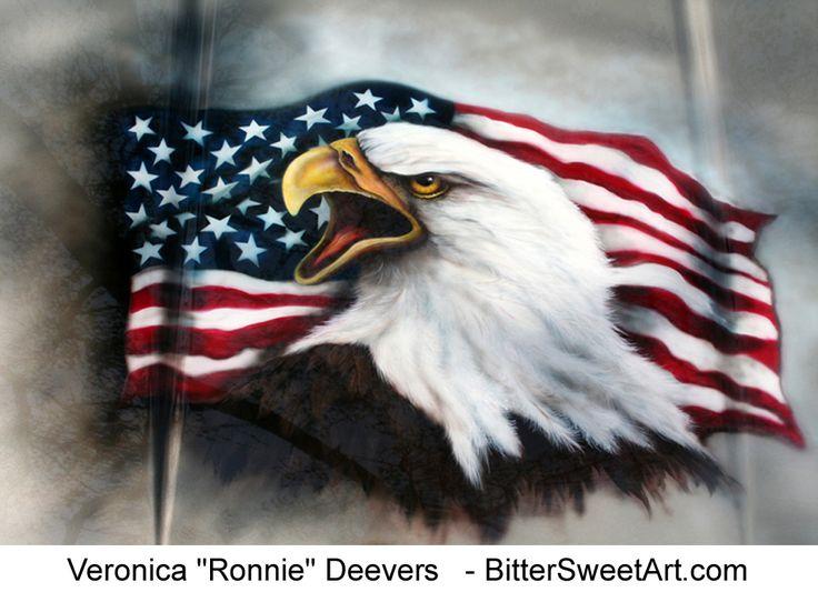American Bald Eagle Tattoos | Bald Eagle and American Flag airbrushed on car hood