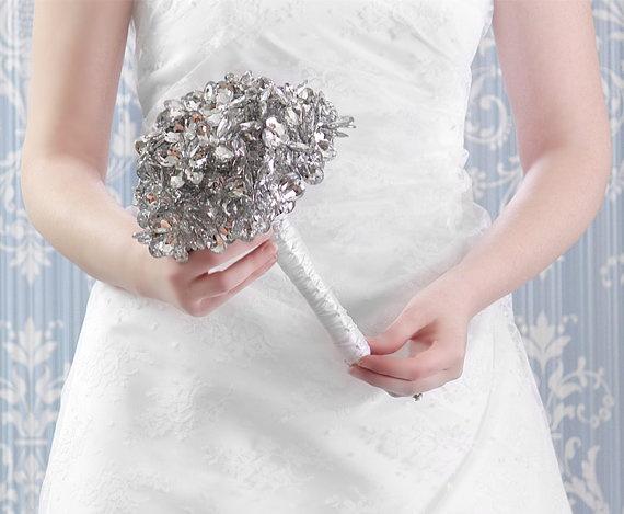 Bridal bouquet beautiful grande beaded silver mirror wedding flowers