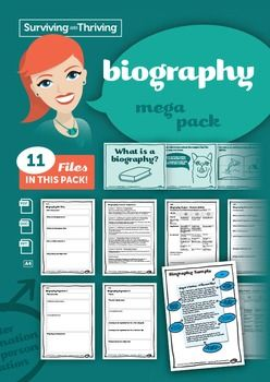 BIOGRAPHY  Mega Pack11 files included.Everything you need to know and all resources for teaching biography.Includes:1 x 5W plan (what, when etc)1 x lesson sequence2 x organisers2 x project student self assessment  PDF and Word2 x project teacher assessments  PDF and Word1 x Powerpoint  What is a biography?1 x sample biography1 x research template