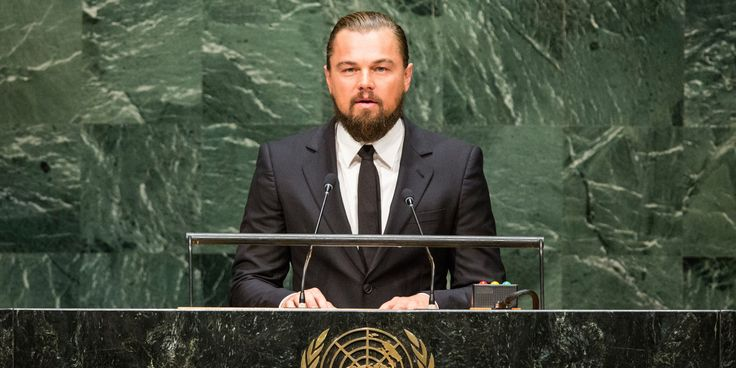 """Bit of a trend with famous people raising awareness about climate change as Leonardo DiCaprio addressed world leaders assembled for the United Nations Climate Summit early Tuesday morning, urging them to take action to address climate change.  """"As an actor, I pretend for a living. I play fictitious characters often solving fictitious problems. I believe humankind has looked at climate change in that same way,"""""""