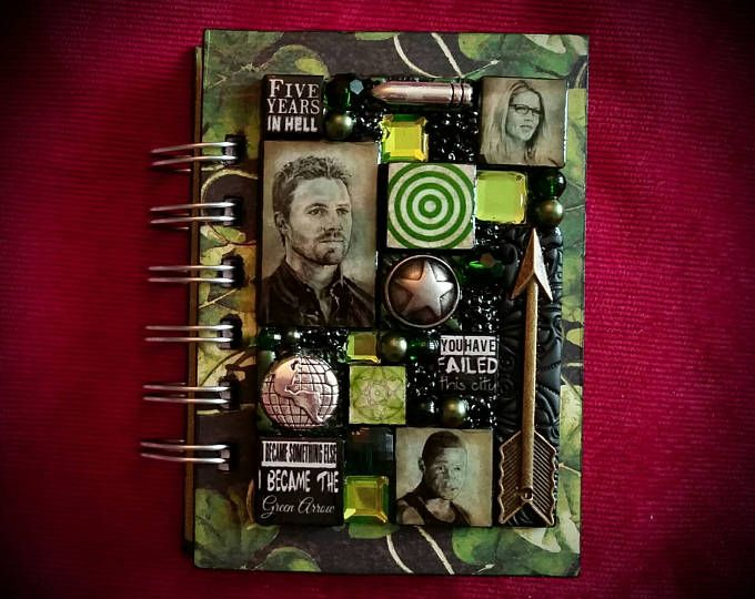 Arrow A7 pocket journal. Arsenal. Mosaic. Oliver Queen. Steven Amell. Diggle. Atom. Felicity Smoak. Ray Palmer. Roy Harper. Colton Hayes.