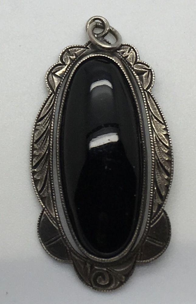 Vtg Silver Oval Oblong Black  Onyx Pendant Southwestern Framed Cabochon  Ornate  #Unbranded #Southwestern