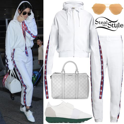 Kendall Jenner was spotted arriving at LAX Airport wearing a Champion  Edition Hoodie ($840.00)