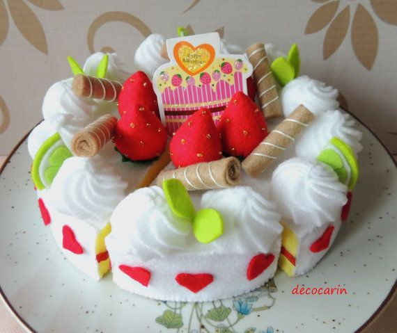 Play Food Felt Food Cake Kids Toy pretend play food. by decocarin