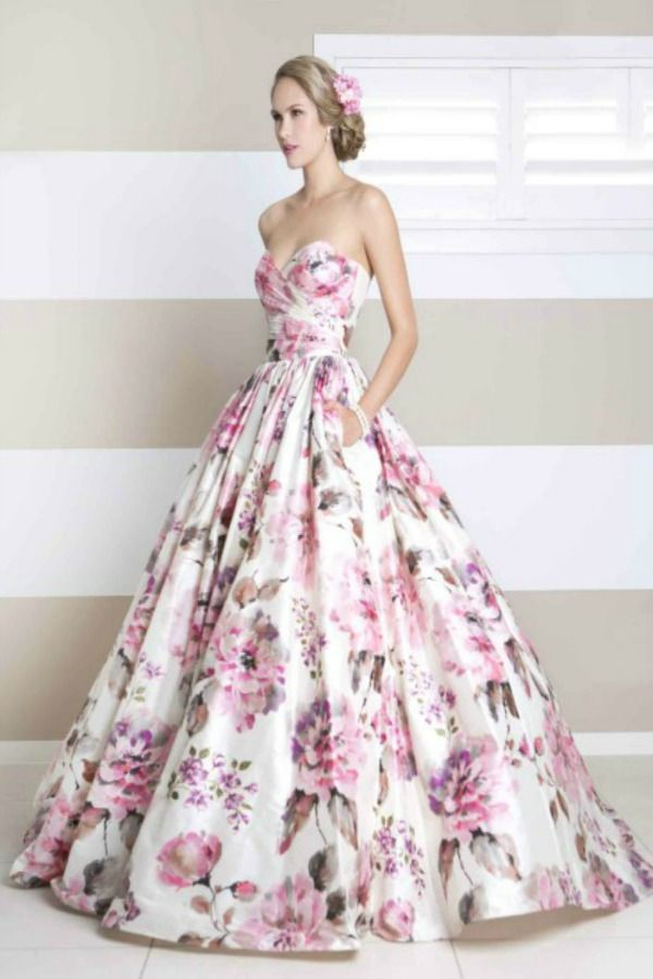 prom dresses printed floral ballgown