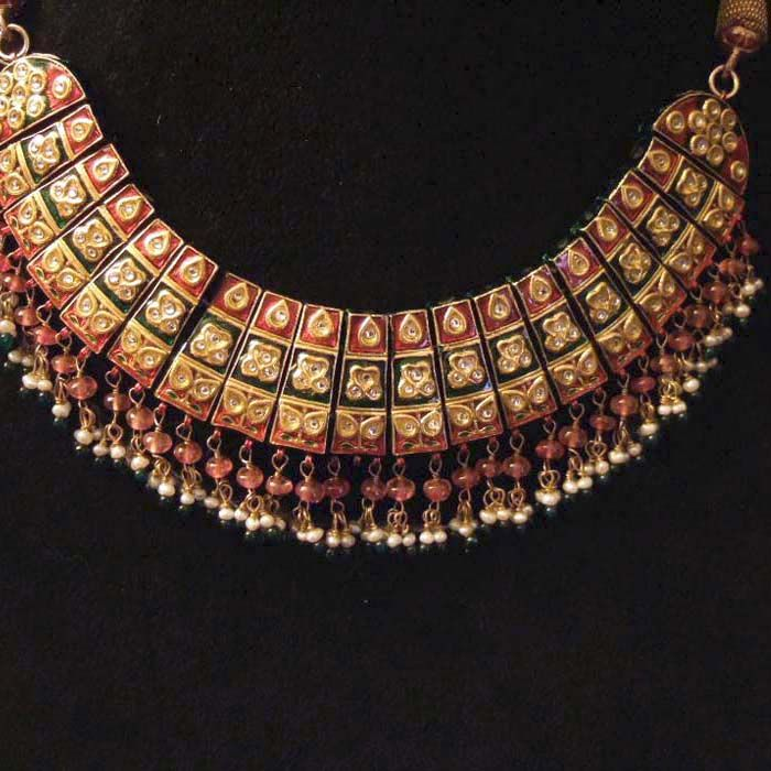 India | Necklace; 20k gold, rubies, pearls, citrines and enamel | Perfect example of  Moghul art of work in jewelry | Sold