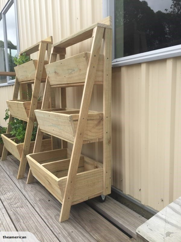 Wooden 3 tier planter box with wheels | Trade Me