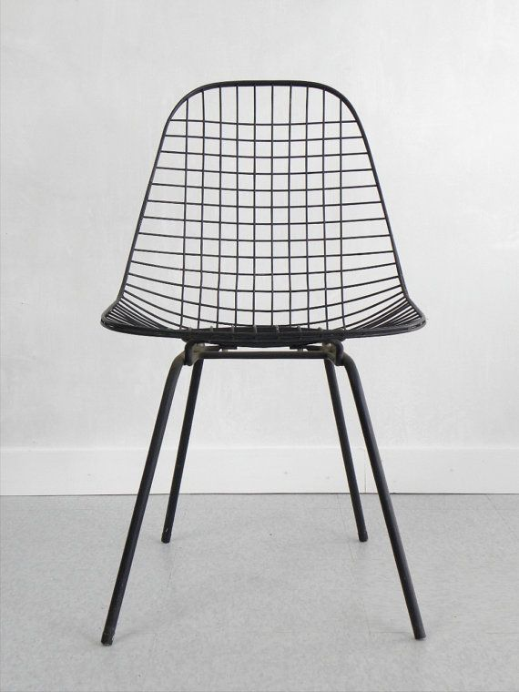 RESERVED  / 1950's Eames DKX Wire Side Chair, Herman Miller, White Seat Pad, Black Wire, H Base, Mid-Century, FREE shipping