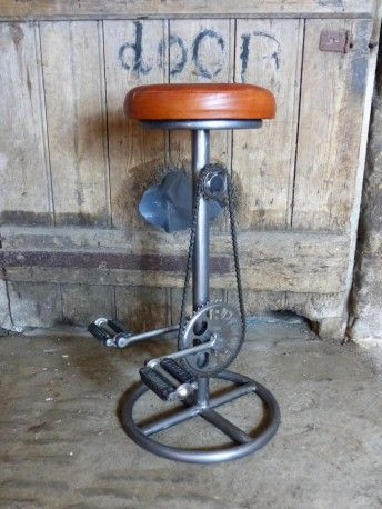 Bike Bar Stool. Cool, stylish brown leather industrial looking bar stools that can be used in kitchens and bars or as shop counter seating. Cool gifts for cyclists [wo] men