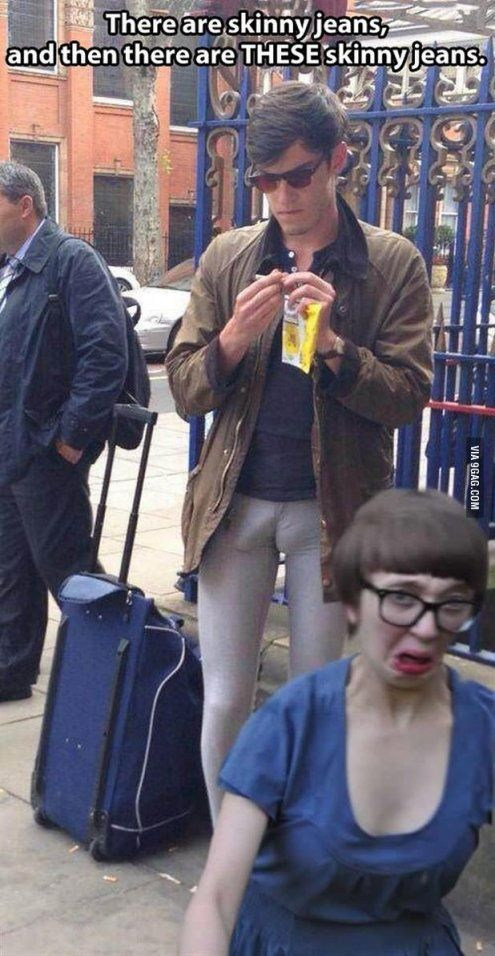 1.that guy is packing. 2. Her face is priceless.  3. This is the equivalent of a female camel toe. #Liz