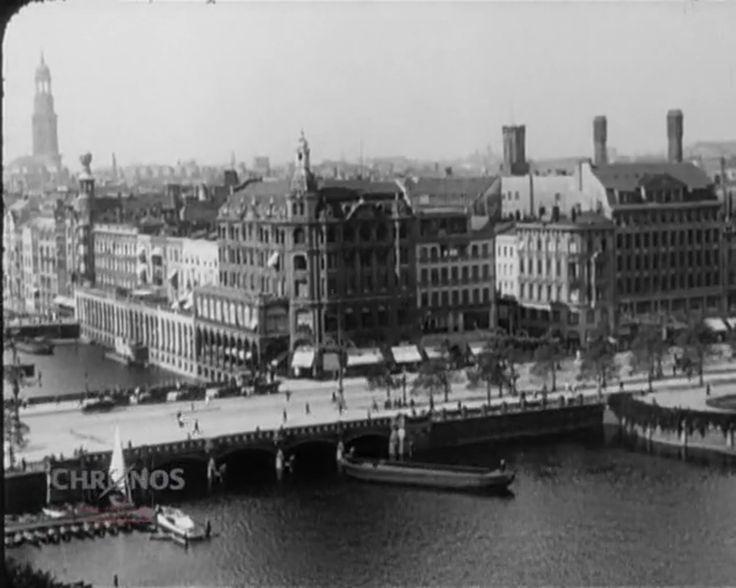 Filmaufnahmen der Hansestadt kurz nach dem Ersten Weltkrieg (1914-1918); ein filmischer Rundgang durch das alte Hamburg: Panorama Jungfernstieg - Binnenalster -…