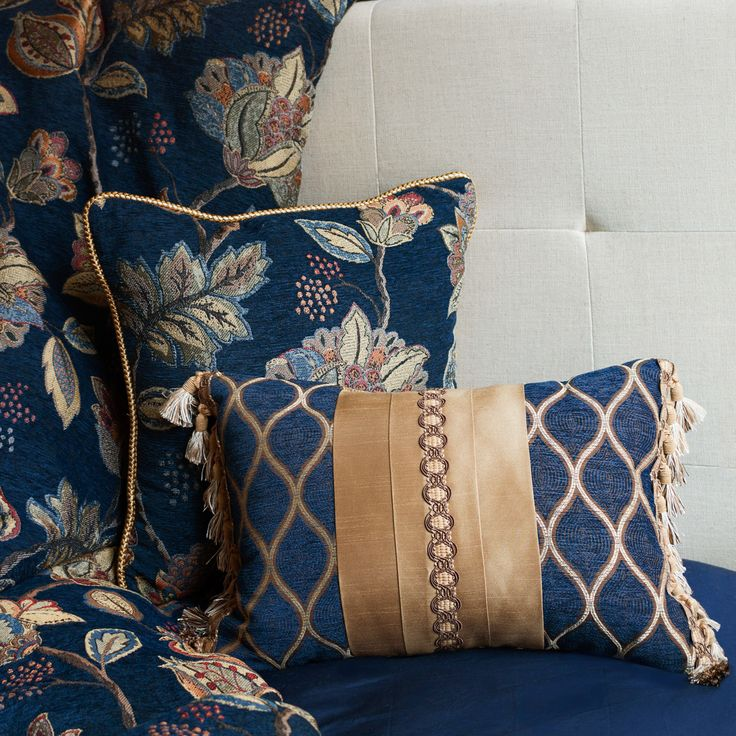 Julien Bedding Collection | Croscill  #tropical #bedding #editorial #lifestyle #stilllife #decor #interiordecor #pillows #beds #designer #blue #gold #luxurious #sophisticated