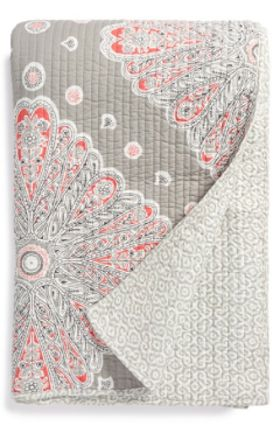 beautiful coral and grey quilt