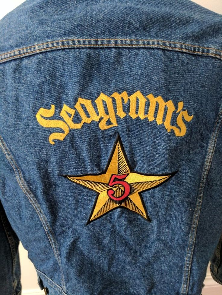 Seagrams 5 Promotional Mens Lee Jean Jacket embroidery. Freshly Washed - standard denim washed look inside - inside pale blue side shown as example. Denim Blue with embroidery. Sz missing from jacket - dimension below size to approx XL Lee Jacket. | eBay!