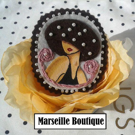 Girl Fabric Brooch, Felt Brooch, Art Brooch, Wearable Art Jewelry, Mother's Day Gift, hat brooch, girl brooch, felt pin, girly pin
