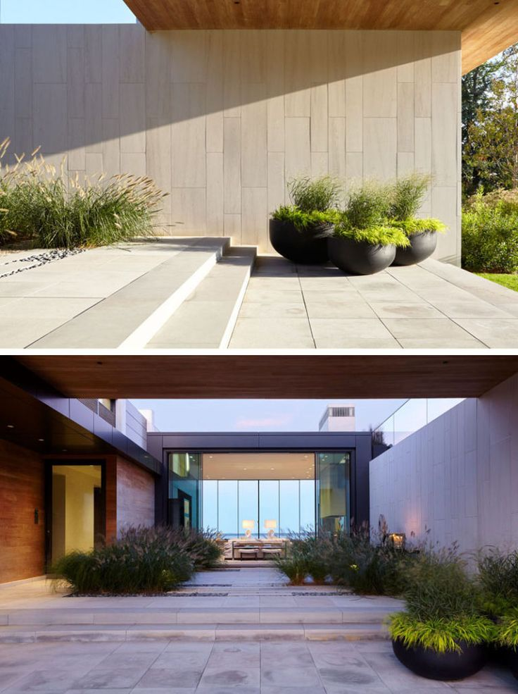 Upon entering this home theres a central courtyard before you reach the front door and