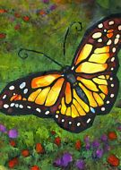 KMSchmidt ACEO Ltd Ed Collectible Art Card bright MONARCH BUTTERFLY garden print