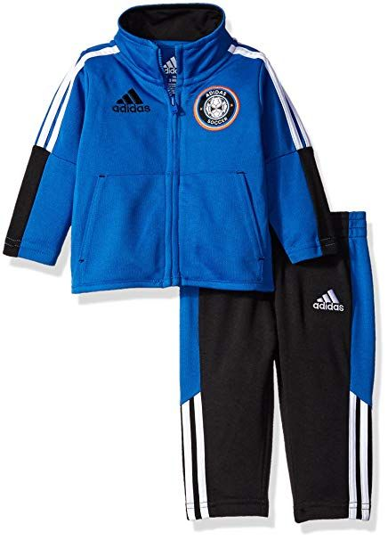 c4f9acd7d57b Adidas Baby Boys  Tricot Jacket and Pant Set, Blue The tricot jogger set  features jacket with large Adidas badge of sport on chest Applied stripes  on ...