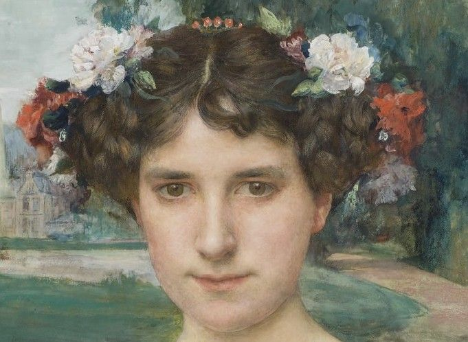 Portrait de femme à la couronne de fleurs,1906 (detail) by Edgar Maxence