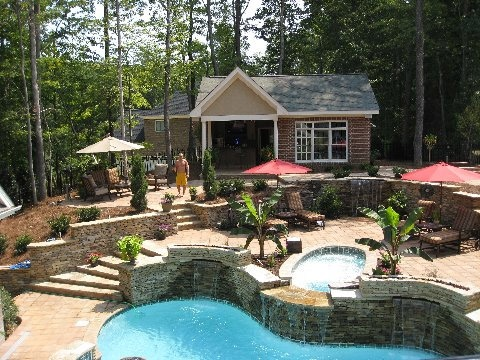 1000 images about walkout basement pools on pinterest for Walkout basement backyard ideas