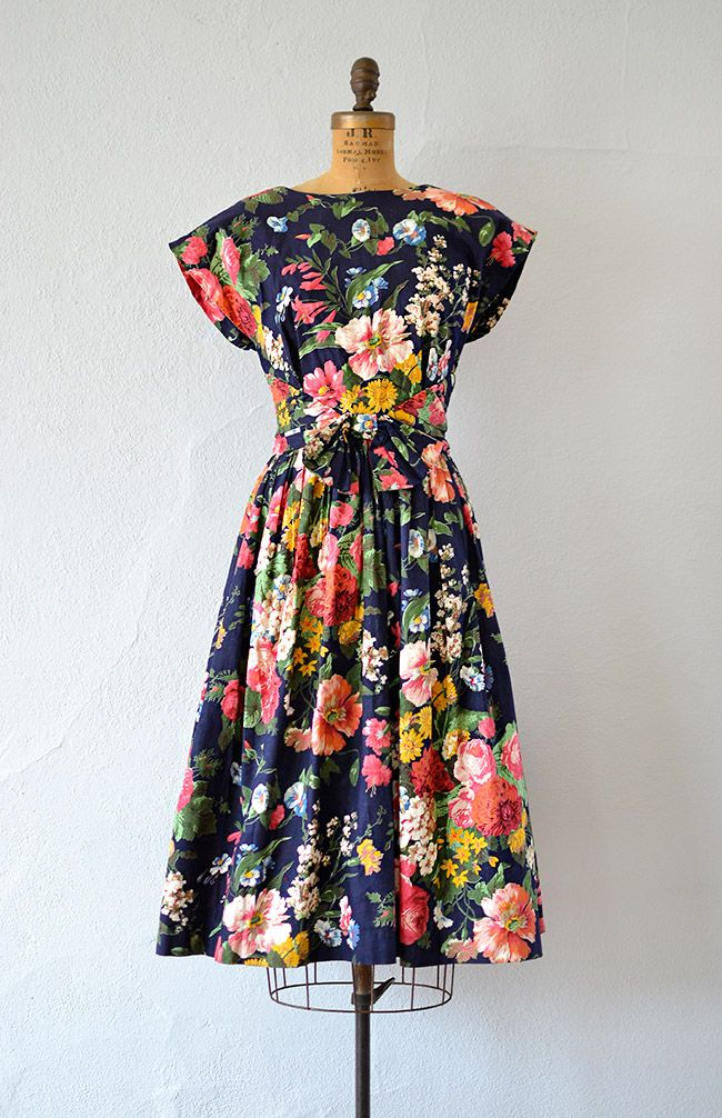 vintage 1990s 50's inspired bright floral low back dress