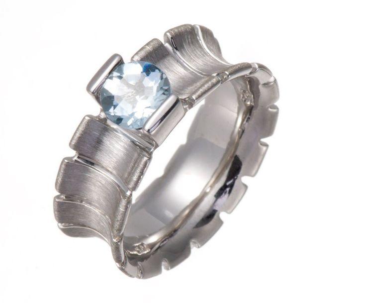 Genuine Aquamarine 6mm Stone  Solid 925 Sterling Silver Ring