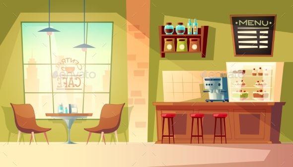 Vector Cartoon Cafe Background Cartoon Vector Background Cafe Cenario Anime Fotos De Florestas Fundo De Animacao