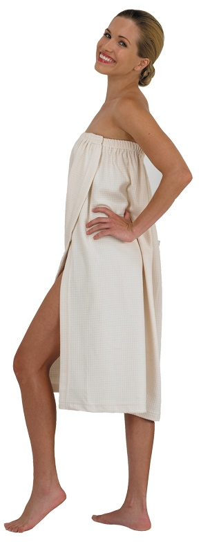 Waffle Weave Spa Wrap in Natural (#637) *Soft knit waffle weave *Elasticized top for comfortable fit *Two adjustable velcro closures, top and mid-length *Light and comfortable *One-size-fits-most design *Made in USA *Colors: Natural, White, Black, Sage, Brown
