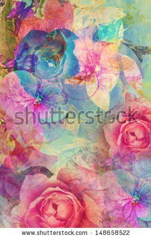 Vintage romantic background with roses and hydrangeas by Julietphotography, via Shutterstock