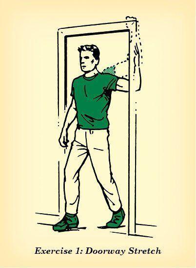 Para fazê-lo, basta ficar paralelo à soleira de uma porta e apoiar um dos braços em 90° (como se fosse dar um high five). Posicione o cotovelo na altura do ombro e gire o tronco para o lado contrário. Aguente 30 segundos e repita com o outro lado. É importante saber que quanto mais baixo estiver seu cotovelo, mais alongará o peito. É um ótimo exercício para praticar quando for beber água ou ir ao banheiro, todos os dias.