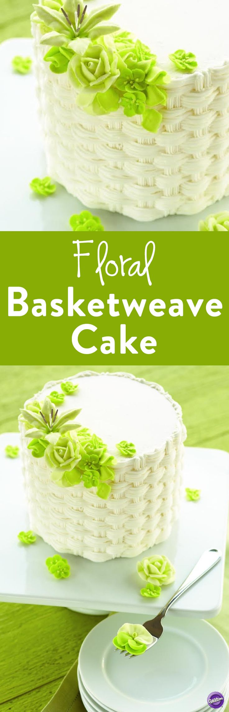 Floral Basketweave Cake - Learn how to make a basketweave cake with lovely blooms in soft shades of green. Serve this cake for any spring or summertime celebration or even Mother's Day or anniversary.